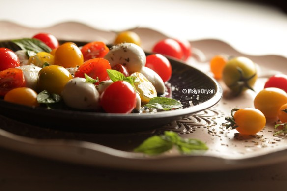 1.Yellow and Red Cherry Tomatoes Caprese Salad
